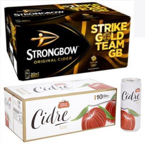 20 Pack Strongbow 440ml £10 at ASDA, 10 Pack Stella Artois Apple Cidre £6 At Tesco
