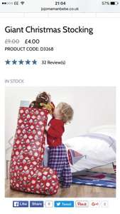 Giant Christmas Stocking £3.60(with code) free delivery @ JoJo Maman BeBe