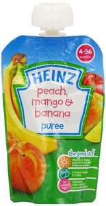 Amazon S&S Heinz Peach/ Mango and Banana Fruit Pouch 4-36 Months 100 g (Pack of 6) £2.85