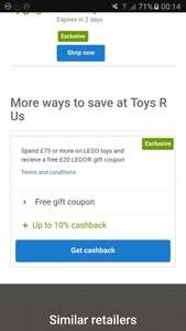 Spend £75+ On Toys and Get a Free £20 LEGO Coupon. (Also upto 10% cashback) @Quidco/Toys R US