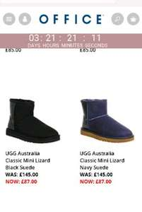 UGG Australia Classic Mini Lizard Black Suede - Ankle Boots £87 office.co.uk