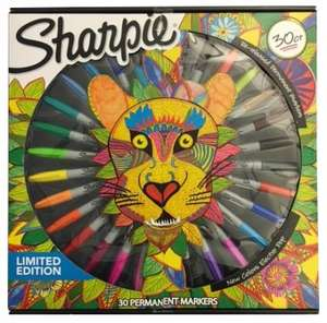 Sharpie Lion Limited Edition Permanent Markers, Assorted Ink (Pack of 30). @ WH SMITHS £12.99. Plus free colouring book worth £4.99