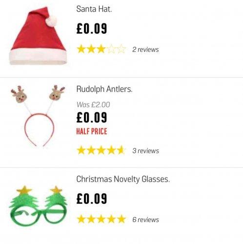 Santa hat, Rudolph antlers & glasses only 9p each @ Argos