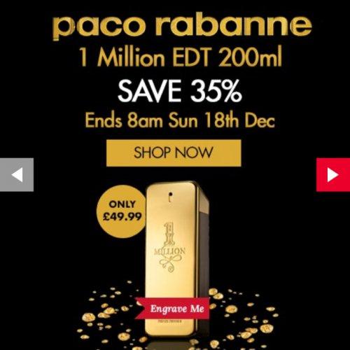 Paco Rabanne 1 Million 200ml £44.99 @ The Perfume Shop