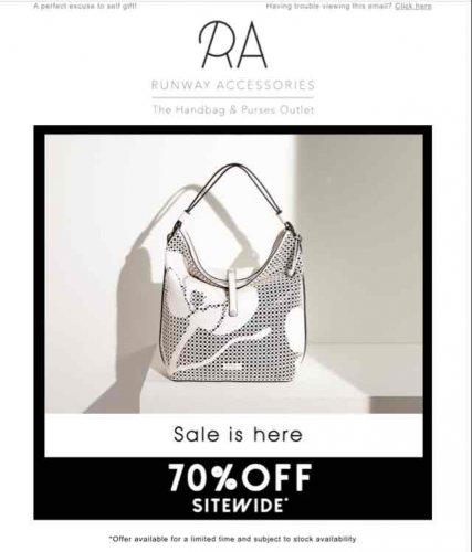 70% Off Accessories & Handbags Sale @ Runway (+ £3.95 Del for orders under £60)