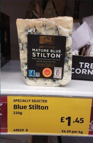 Aldi Long Clawson Stilton £6.59 per kilo (also in Lidl) or £1.45 per portion.