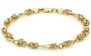 """Carissima Gold 9ct Yellow Gold Twist Bracelet of 18cm/7"""" - £84.95 usually £335.00"""