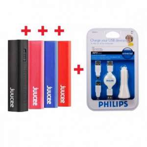 4 x Bitmore Juucee 26 2600mAh Powerbank plus Philips in Car Charger - £19.99 @ Memorybits