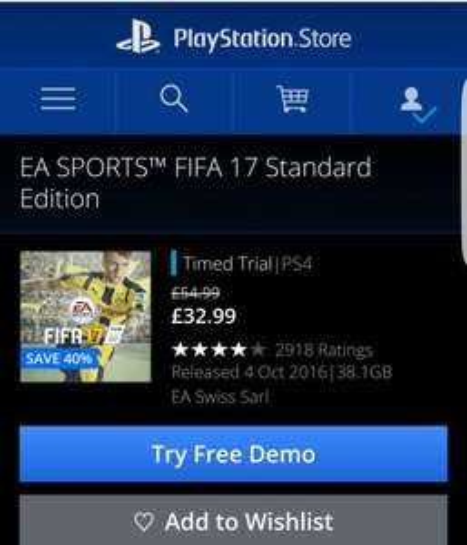 Fifa 17 £32.99 playstation network sale £29.58 via cdkeys £30 psn card