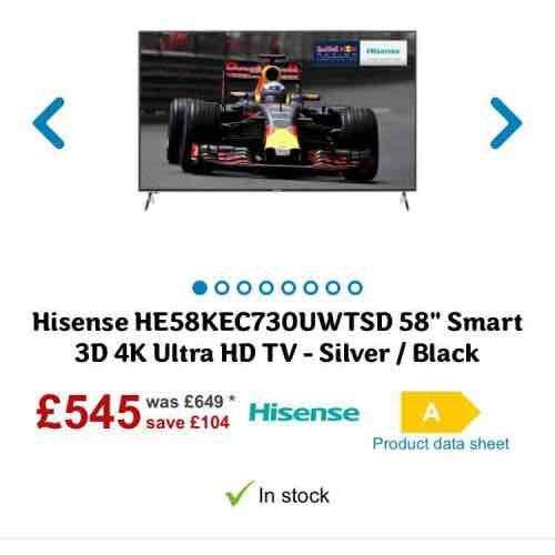 "Hisense 58"" smart 3D 4K ultra Hd Tv £495 @ AO"