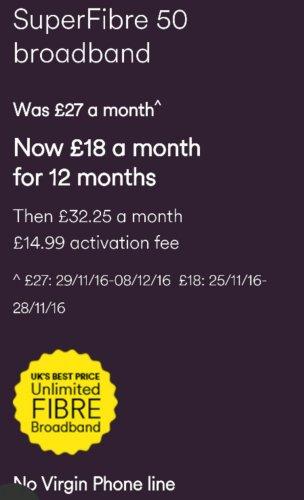 Virgin Superfibre 50 Broadband @ 18£ pm (Black Friday Deal Price) - £216 total