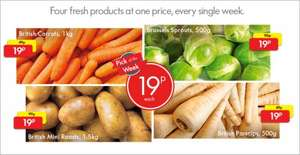 Lidl potatoes, carrots, parsnips and Brussels sprouts 19p from tomorrow.