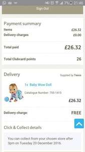 Baby Wow Doll now £26.32 @ Tesco Direct. Next cheapest store is £49.