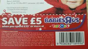 £5 OFF £20 Or More Spend Babies R Us Voucher In Store