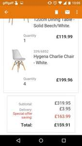Dining Table + 4 Chairs. Excellent value after discount/code. Great reviews. Half price. £159.91 @ Argos