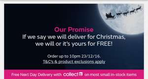 Christmas delivery promise @ VERY or get it free (Order up until 10pm 23rd December)
