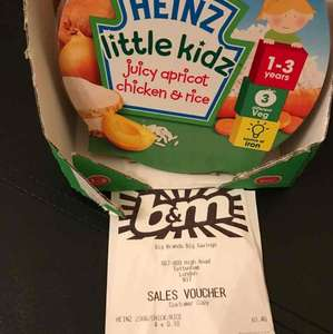 Heinz Apricot Chicken with Rice Baby Food 230g scanning in at 10p b&m!!!!