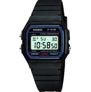Casio F-91W-1YER LCD Classic Black Digital Watch - 2yr Warranty, 7yr battery life, Chrono, Timer, Alarm, LED, Water Resistant - £6.45 @ 7dayshop (using code + 2.87% back TCB / 7.7% Quidco)