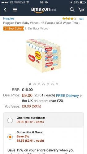 Huggies wipes 18 pack £9 (Prime) / £13.75 (non Prime) at Amazon