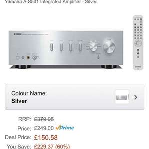 Yamaha A-S501 integrated amplifier £150.58 @ Amazon Prime
