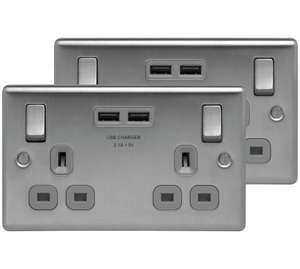 Twin pack of Brushed steel USB plug sockets (2 gang) @ Argos £17.99 (Free C&C)