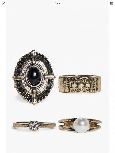 Boohoo Kara large gold colour stone ring set (of 4) £1 @ boohoo ebay free delivery