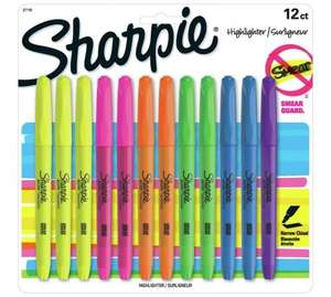 Sharpie 12 Pack of Assorted Highlighters £4.99 WAS £9.99 ARGOS (FREE C&C)