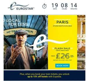 Eurostar to Paris or Brussels from £26 single or £52 Return