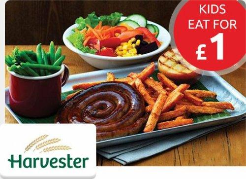 Kids Eat for £1* @ Harvester via Vouchercloud