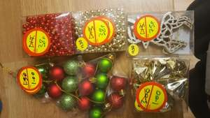 Christmas tree decorations - Heavy Gold hanging jewels £1 from £3, 17 mini baubles £1 from £2, 6 golden reindeers 75p - in store - Morrisons