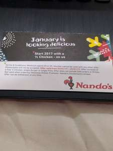 Nandos - Free Burger, Pitta or 1/4 Chicken for filling out feedback survey in January 2017 (Min £5 spend)