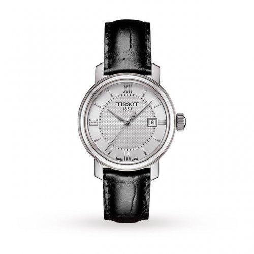 SWISS WATCH: Tissot Bridgeport Silver Dial Black Leather Ladies Quartz Watch £150 @ Goldsmiths