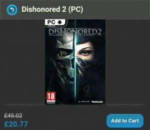 Dishonored 2 Steam Key £20.15 using code 'GD3%off' from Game Key