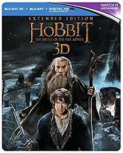 The Hobbit: The Battle Of The Five Armies - Extended Edition [Steelbook] [3D] [Blu-ray] [2014] [Region Free] £9.99 prime / £11.98 non prime @ Amazon / HMV