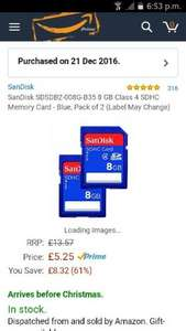 SanDisk SDSDB2-008G-B35 8 GB Class 4 SDHC Memory Card - Blue, Pack of 2 £5.25 Prime / £9.24 Non Prime from Amazon