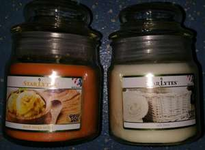 Starlytes Soy Blend Scented Small Jar Candles Peach Mango Sorbet Or Soft Linen, 85g/3oz, £1 @ Poundland In Store