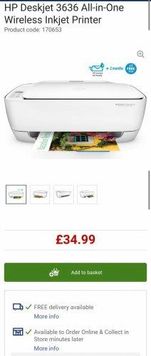 HP Deskjet 3636 All-in-One Wireless Inkjet Printer £34.99 @ Currys