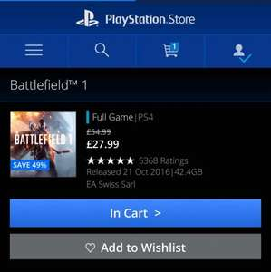 Battlefield 1 PS4 on Playstation Store/ PSN £27.99