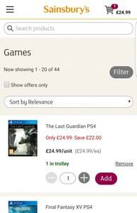 The Last Guardian PS4 - £24.99 (Sainsburys Online) (+ Variable Collection / Delivery Charges Apply)