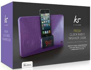 KitSound Fresh Alarm Clock Radio Docking Station with Lightning Connector for iPhone, iPod Nano and iPod Touch - Purple £37.99 @ Amazon