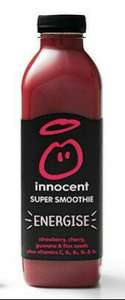 Innocent Energise/Uplift Super Smoothie 750ml 69p each or 2 for £1 @Fulton Foods