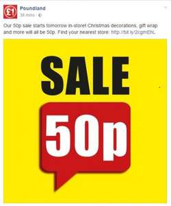 All £1 Christmas stock at Poundland 50p from Saturday/Christmas Eve