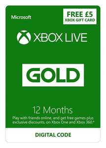 Xbox LIVE 12 Month Gold Membership + £5 FREE Credit [Xbox Live Online Code] (Xbox 360/One) £34.99 @ Amazon