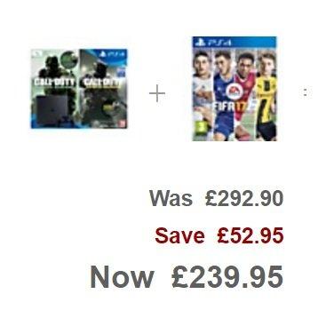 PS4 slim 1TB & Call of Duty Infinite Warfare, & Modern Warfare Remastered, & FIFA 17, £239.95 @ John Lewis