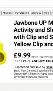 Jawbone UP MOVE Wireless Activity and Sleep Tracker @ Base.com was £49.99 free delivery