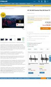 "65"" 4K UHD Freeview Play LED Smart TV was £1,499 - £749 @ Finlux.co.uk"