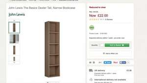 John Lewis The Basics Dexter Tall, Narrow Bookcase £22 + £3.50 Del @ John Lewis