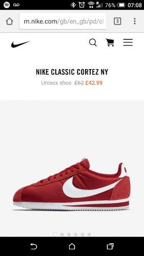 £42.99 Nike Cortez Classic Trainer @ Nike.com (possible 15% cash back)