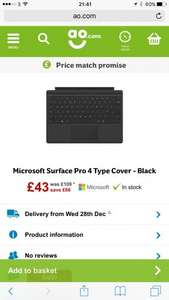 Microsoft Surface Pro 4 Type Cover - Black £43 @ AO.com