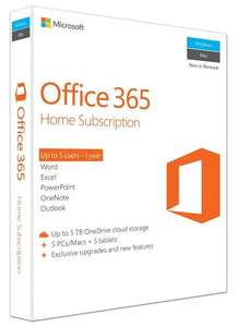 Microsoft Office 365 Home, 5 Users, 1 year £39.97 @ Amazon